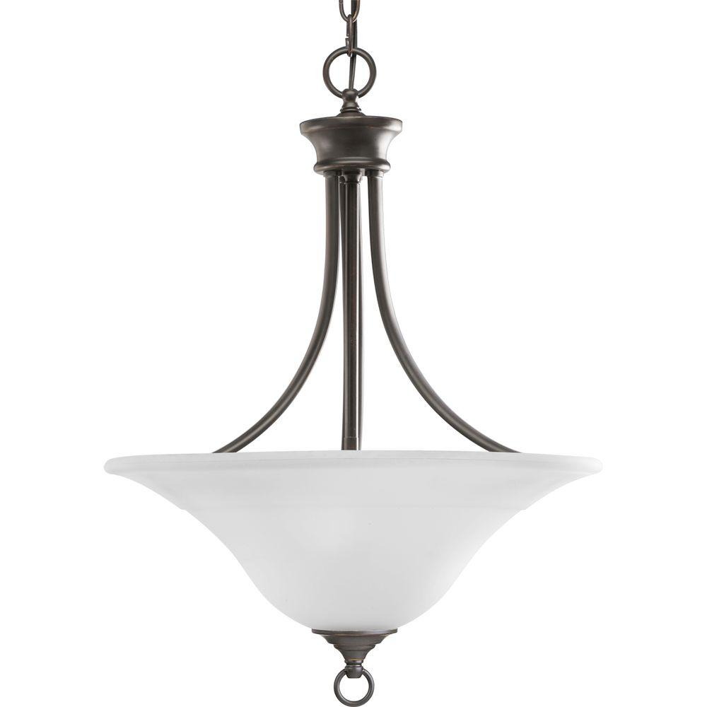 Progress Lighting Trinity 3 Light Antique Bronze Foyer Pendant With Etched Glass