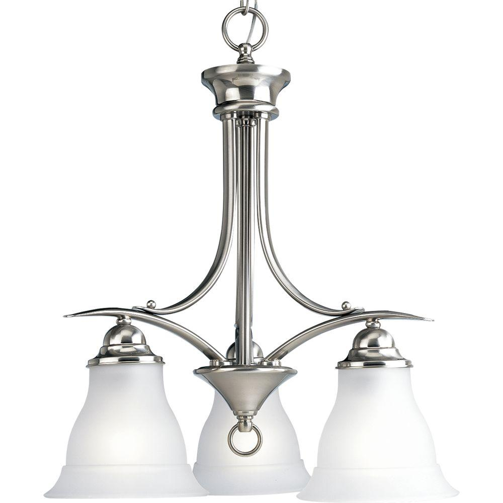 Progress Lighting Trinity 3 Light Brushed Nickel Chandelier With Etched Glass