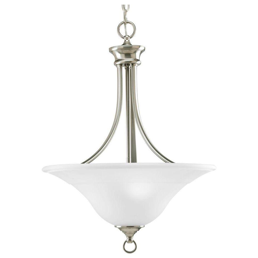 Progress Lighting Trinity 3 Light Brushed Nickel Foyer Pendant With Etched Glass