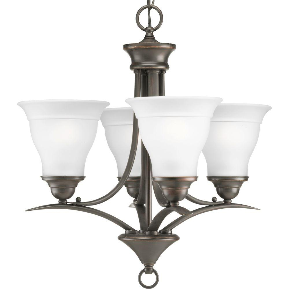 Progress Lighting Trinity 4 Light Antique Bronze Chandelier With Etched Glass