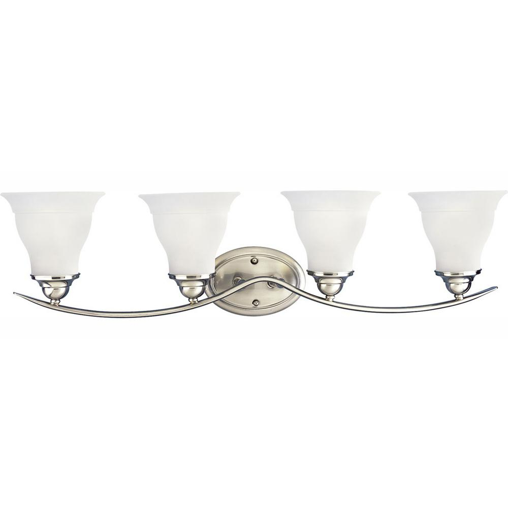 Progress Lighting Trinity 4 Light Brushed Nickel Fluorescent Bathroom Vanity Light With Glass Shades