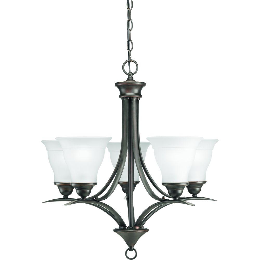 Progress Lighting Trinity 5 Light Antique Bronze Chandelier With Etched Glass