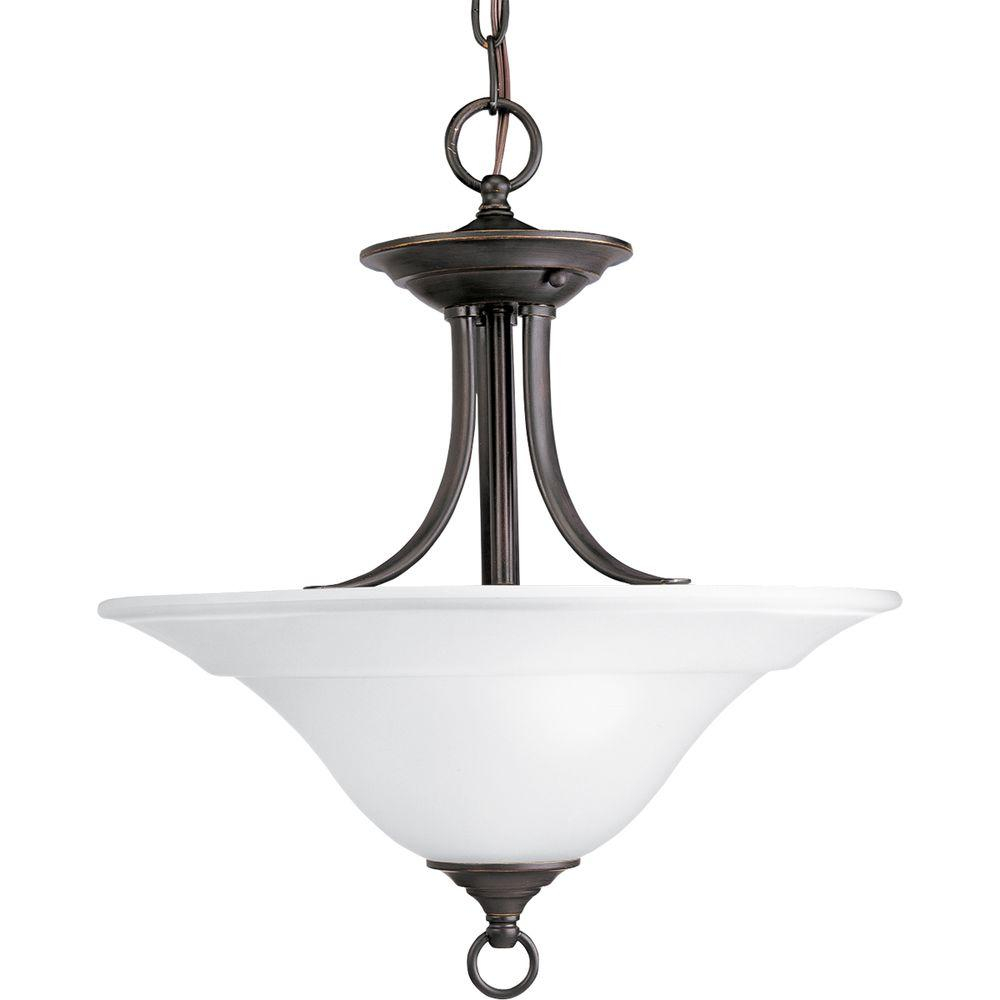 Progress Lighting Trinity Antique Bronze 2 Light Semi Flush Mount