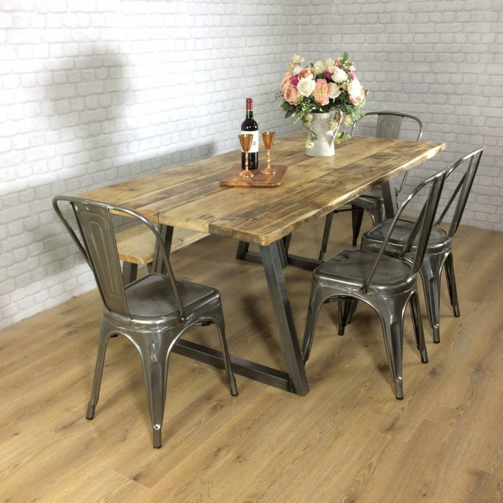 Reclaimed Industrial Dining Table 6 8 Seater Solid Wood Rustic Metal Bar Cafe Restaurant Furniture Steel Handmade In Britain All Sizes