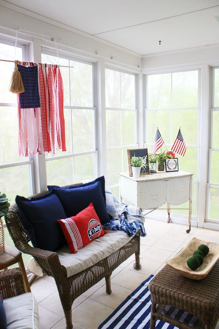 Red White And Blue In The Sunroom 4th Of July Decor Ideas Fourth