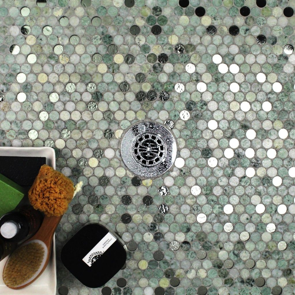 Reflection Ming Green With Mirror Penny Round Marble Glass Tile