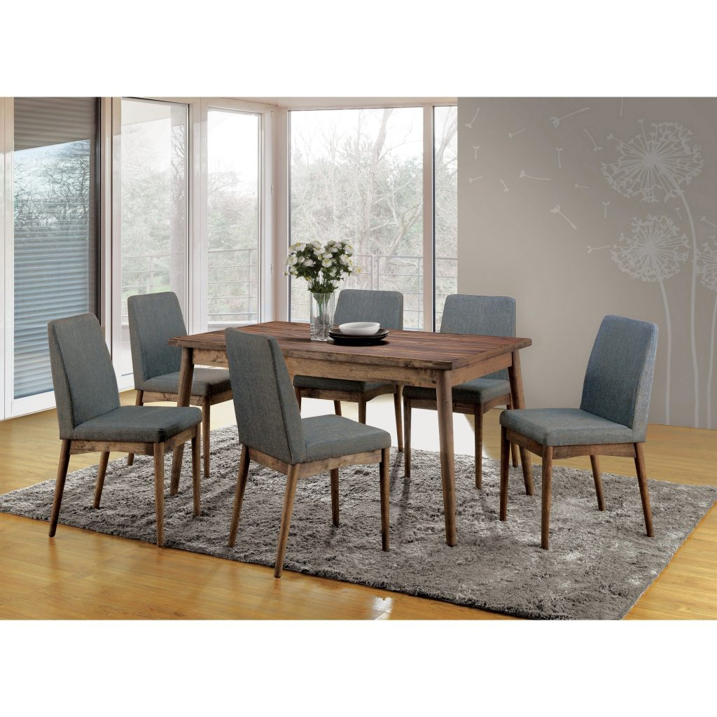 Reynorth Mid Century Modern Natural Tone 7 Piece Dining Set Foa