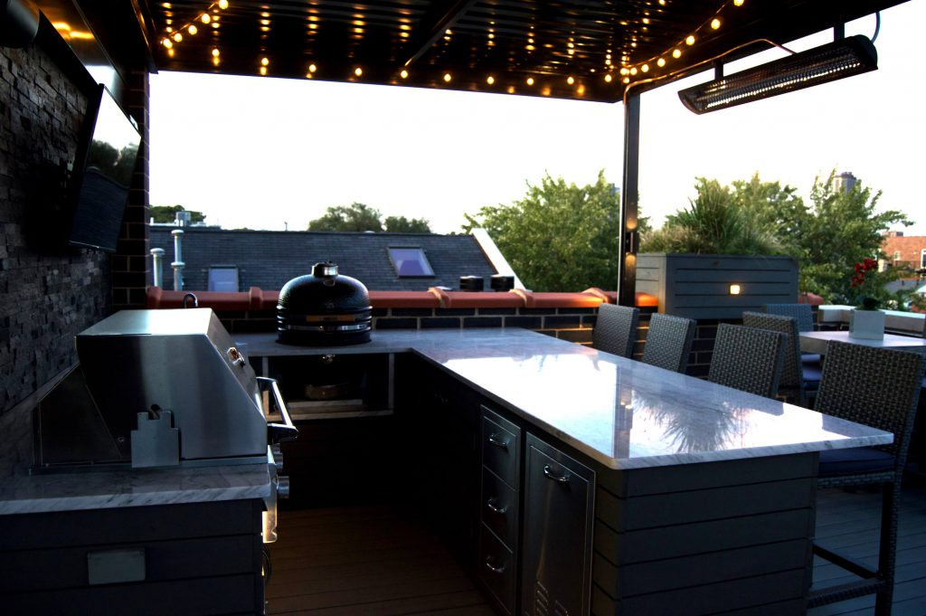 Rooftop Deck With Landscape Lighting Bbq And Outdoor