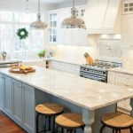 Rustic Kitchen Island with Bar Stools