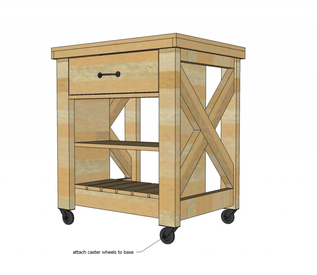 Rustic X Small Rolling Kitchen Island Ana White