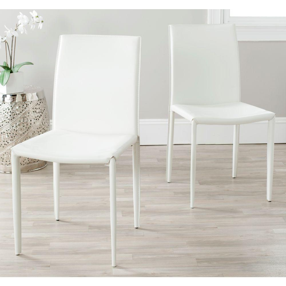 Safavieh Karna White Bonded Leather Dining Chair Fox2009a Set2 The