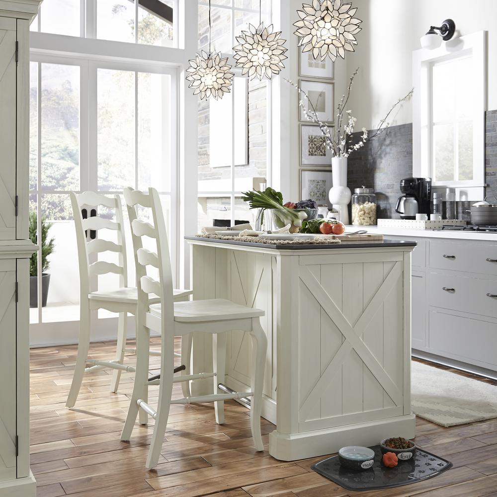 Seaside Lodge 24 In Hand Rubbed White Counter Bar Stool