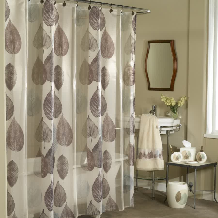 Semi Transaparent Cloth Shower Curtain With Leaves Pattern Small