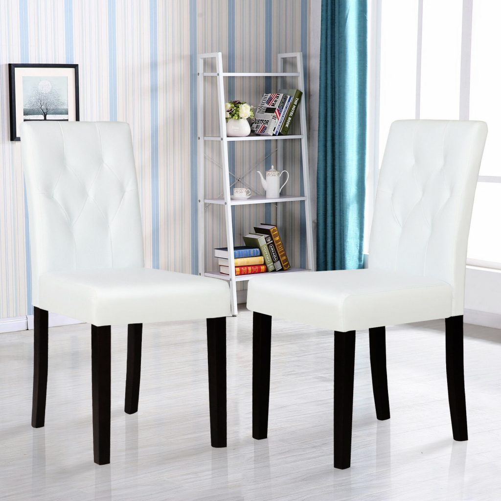 Set Of 2 White Leather Dining Chairs With Tufted Backrest Kitchen