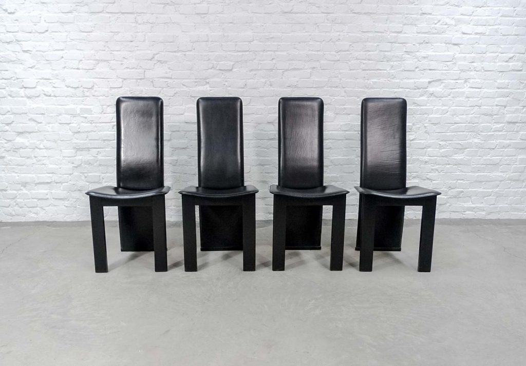 Set Of 4 Mid Century Black Sadle Leather High Back Dining Chairs In