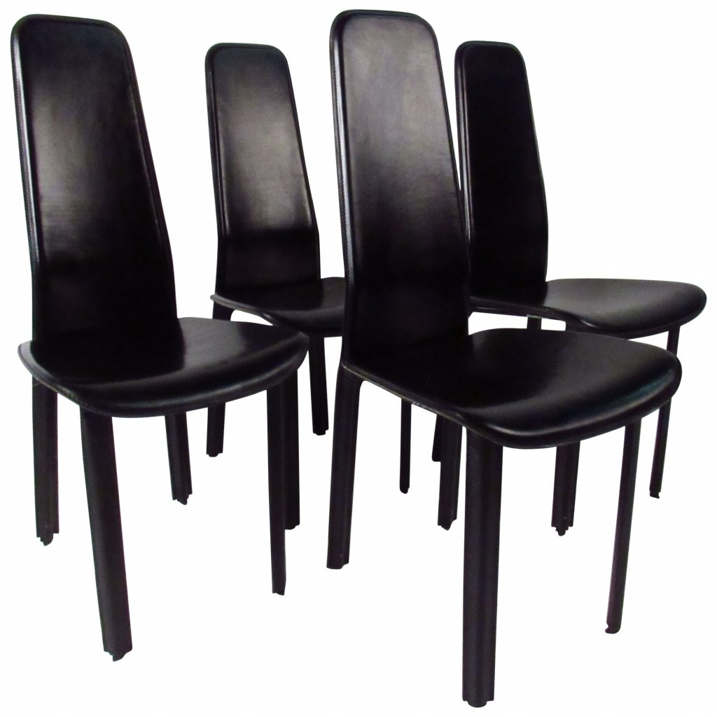 Set Of Italian Leather High Back Dining Chairs Cidue