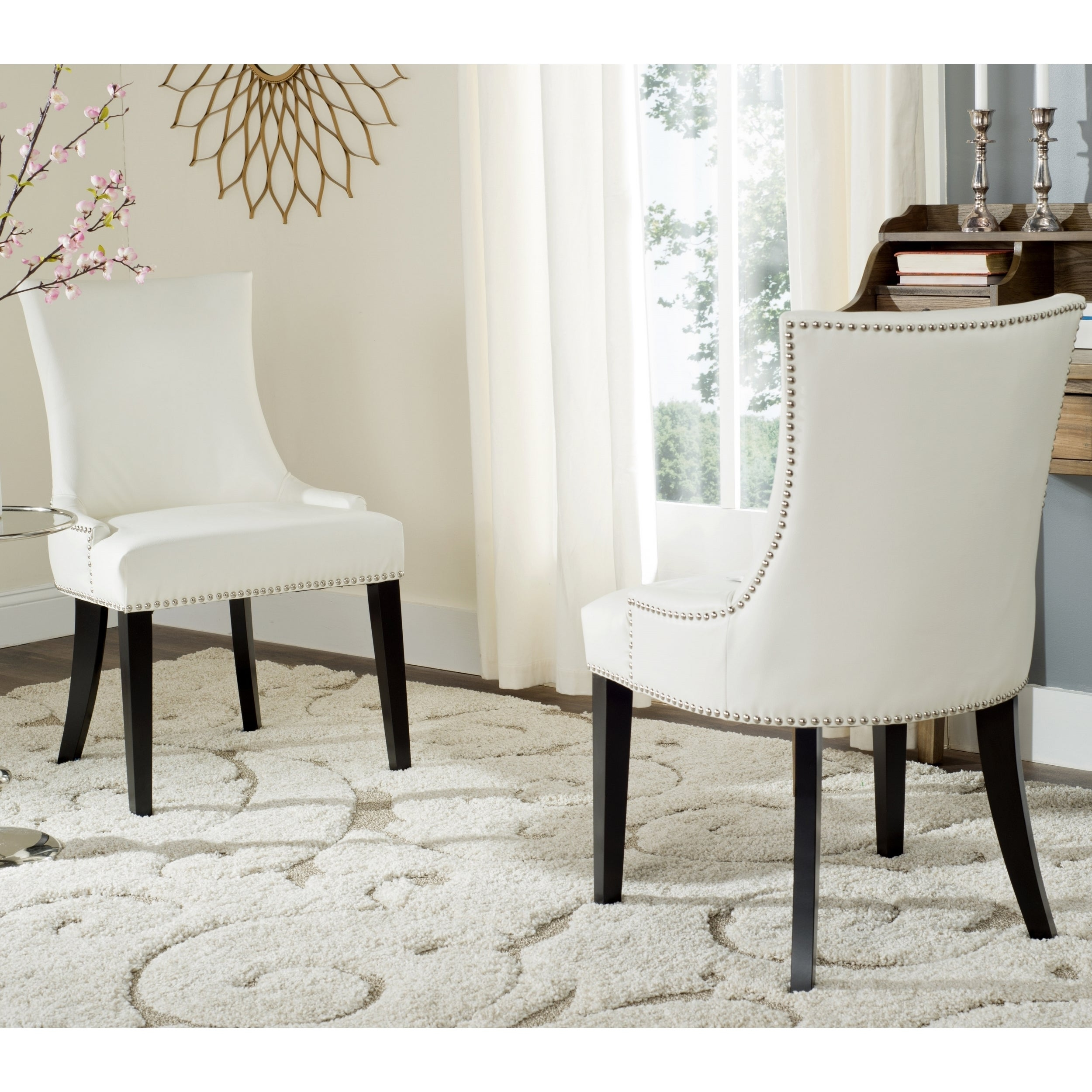 Shop Safavieh Dining Lester White Leather Dining Chairs Set Of 2