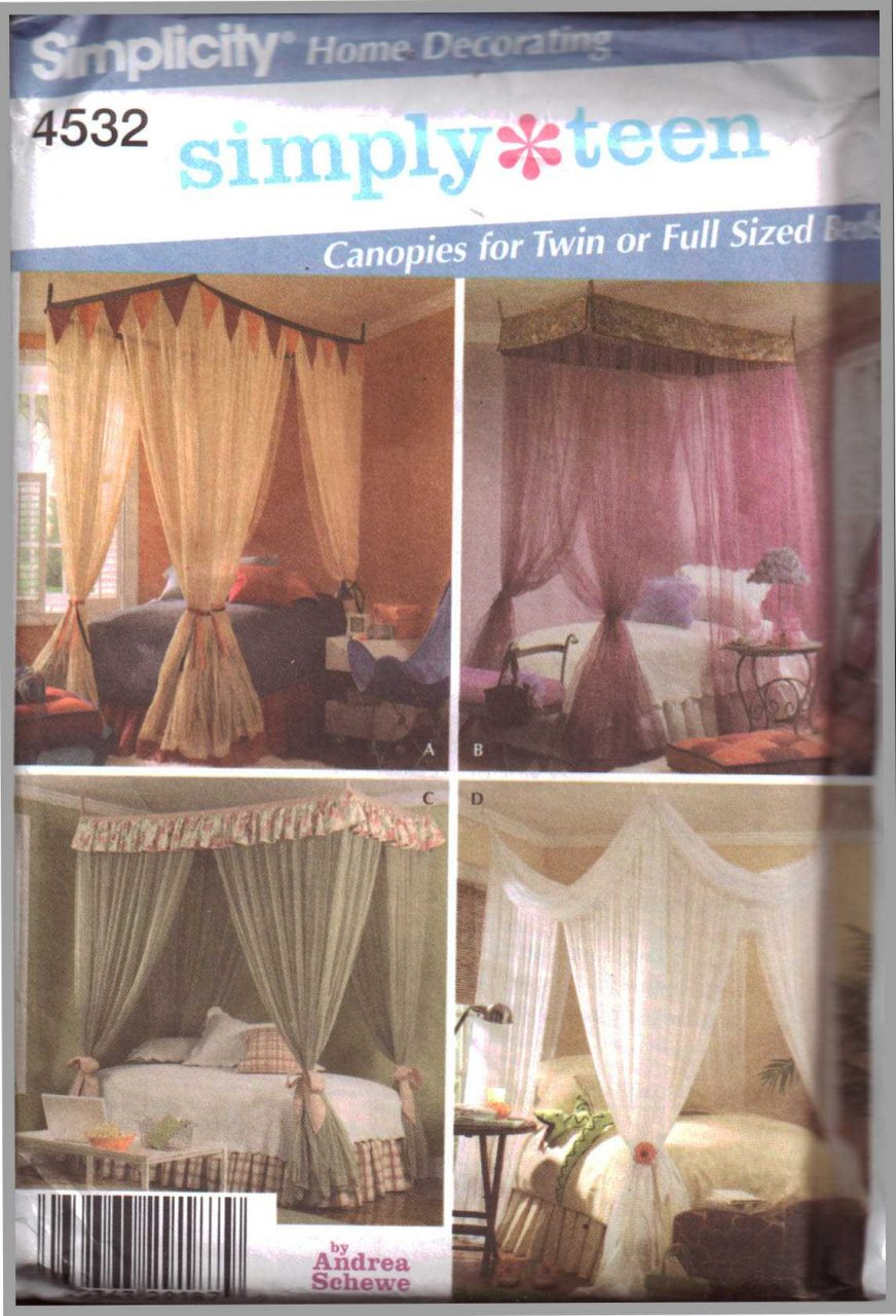Simplicity 4532 Bed Canopies Size Twin Full Uncut Sewing Pattern