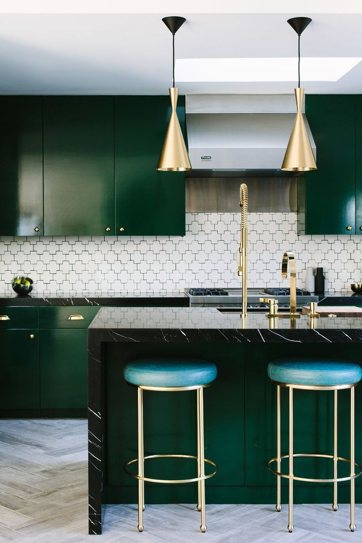 Sleek And Simple Kitchen In Emerald And White Love The Patterned