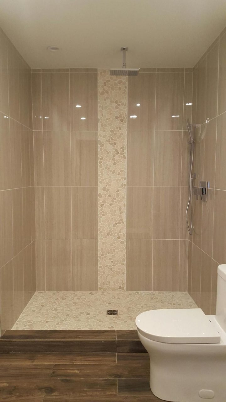 Sliced White Pebble Tile Bathroom Bathroom Master Bathroom
