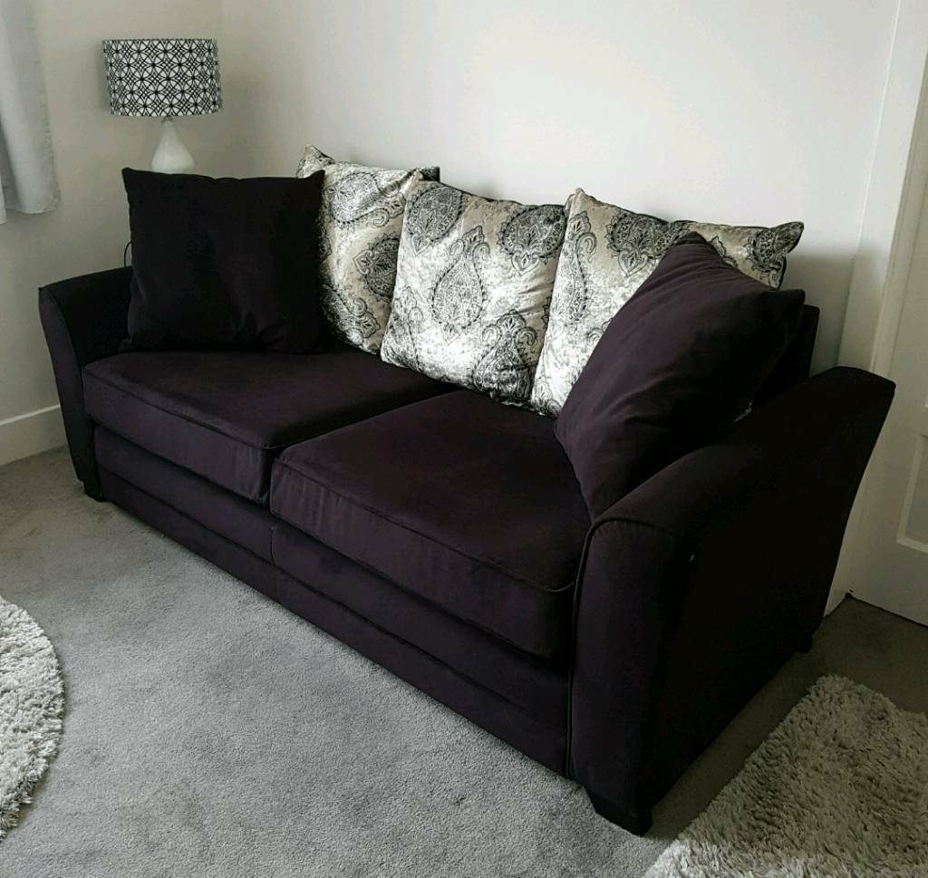 Sofa 3 Seater Black Velvet Scatter Back Champagne Gold Living Room Furniture In Tadcaster North Yorkshire Gumtree