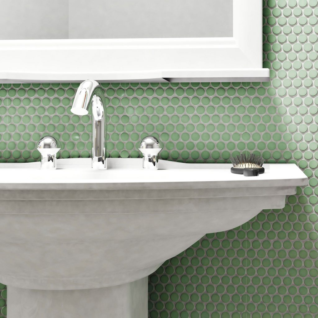 Somertile 975x115 Inch Victorian Penny Matte Light Green Porcelain Mosaic Floor And Wall Tile 10 Tiles797 Sqft
