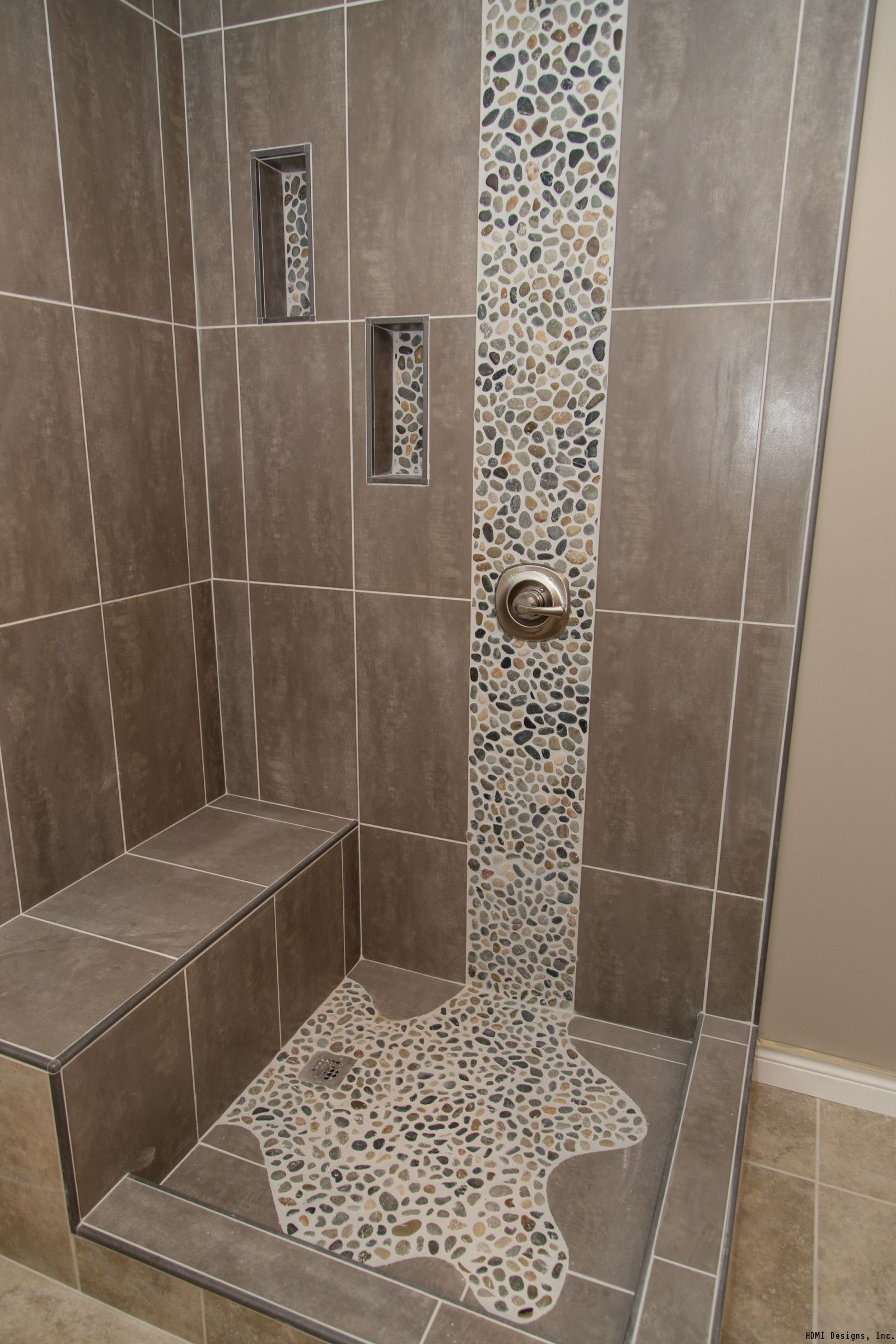 Spruce Up Your Shower Adding Pebble Tile Accents Click The Pin