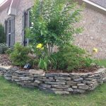 Stacked Stone Wall Flower Bed