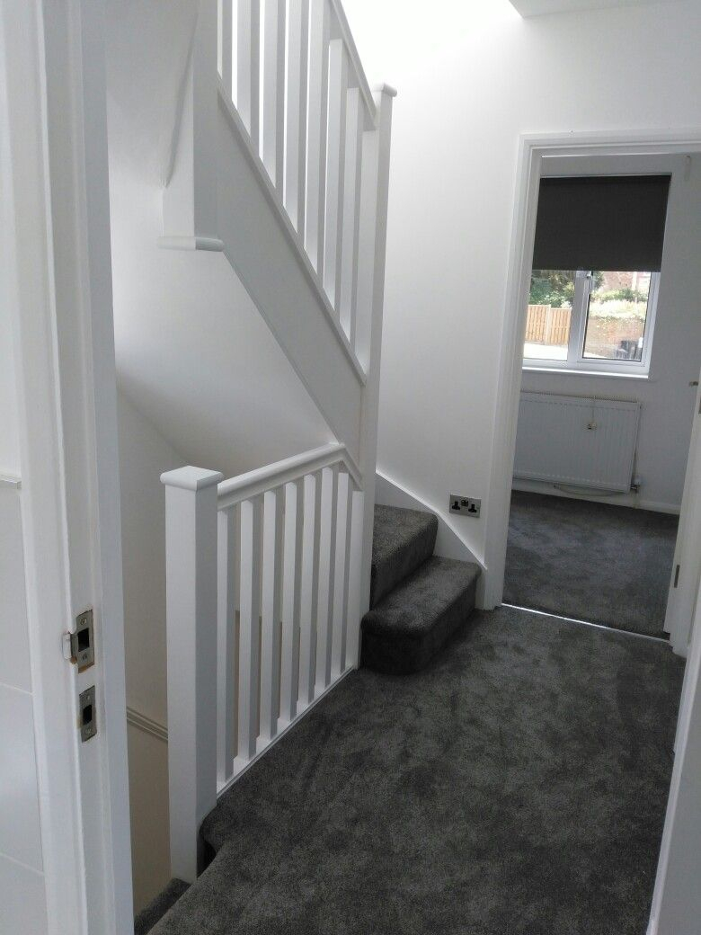 Stairs Grey Carpet White Walls Family Room In 2019 Carpet Stairs
