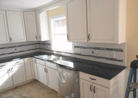 Steel Gray Granite with White Cabinets