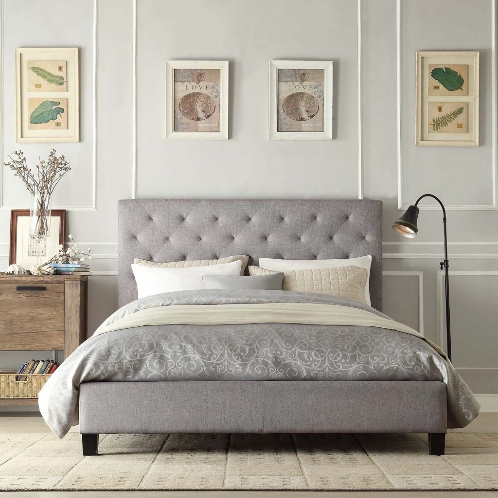 This Elegant Platform Bed Features A Button Tufted Headboard And