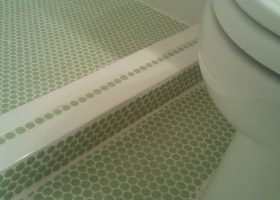 Green Penny Tile Bathroom