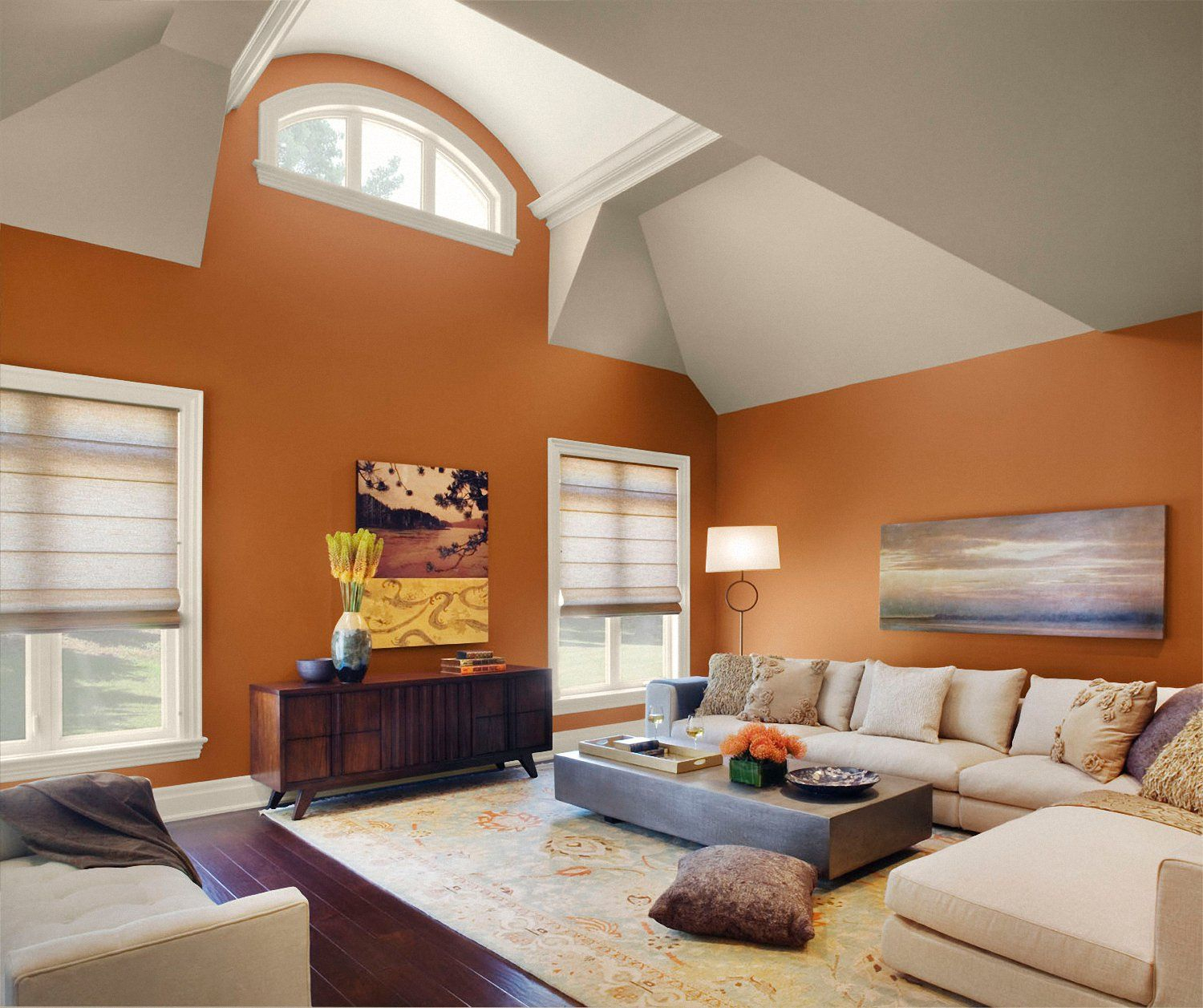 Trendy Living Room Paint Color Idea With Orange Painted Wall And