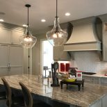 Two Large Kichler Everly Pendants Above Kitchen Island Lighting