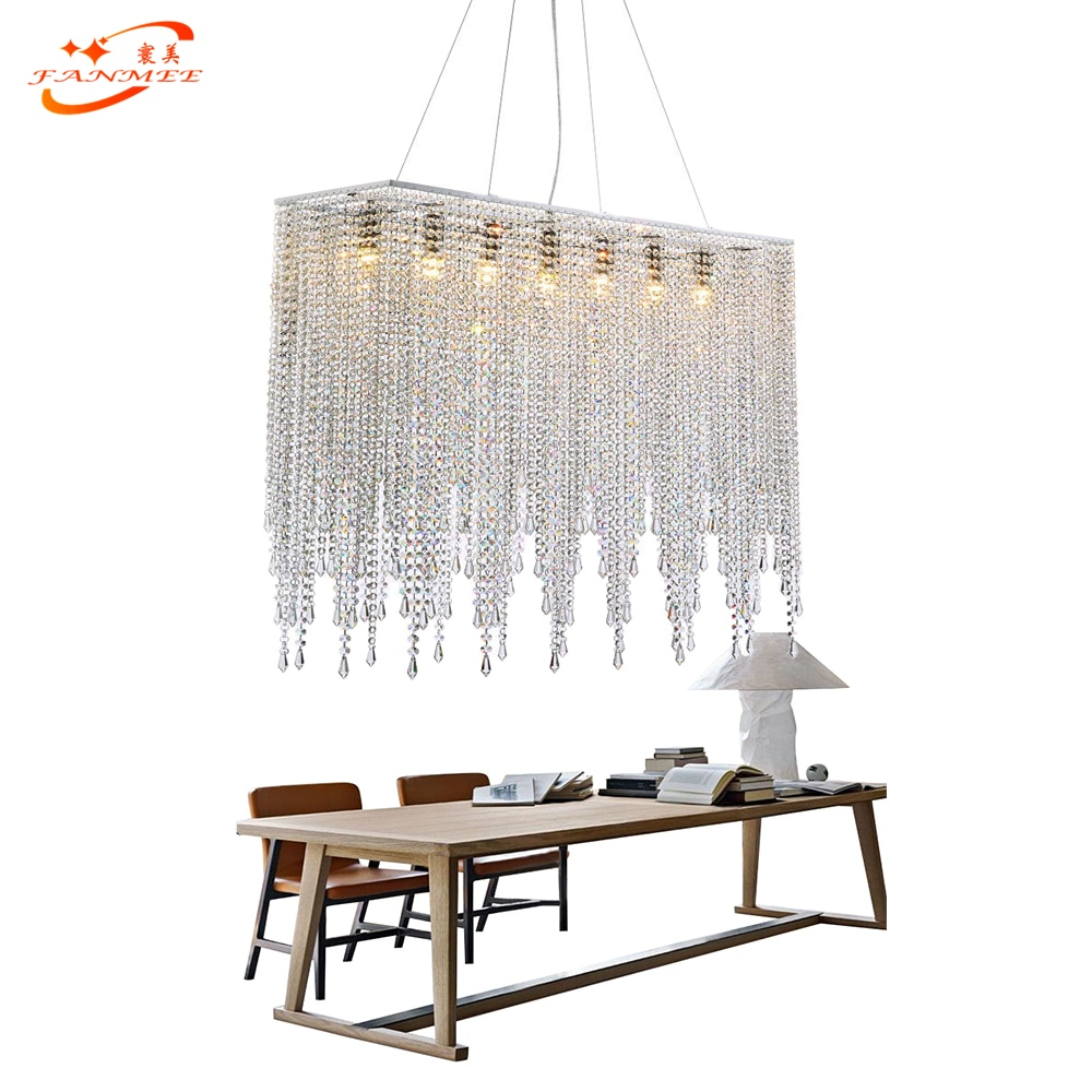Us 5184 51 Offfanmee Modern Crystal Chandelier Lighting Linear Chandelier Light Restaurant Living Dining Room Hanging Light Suspended Lamp In