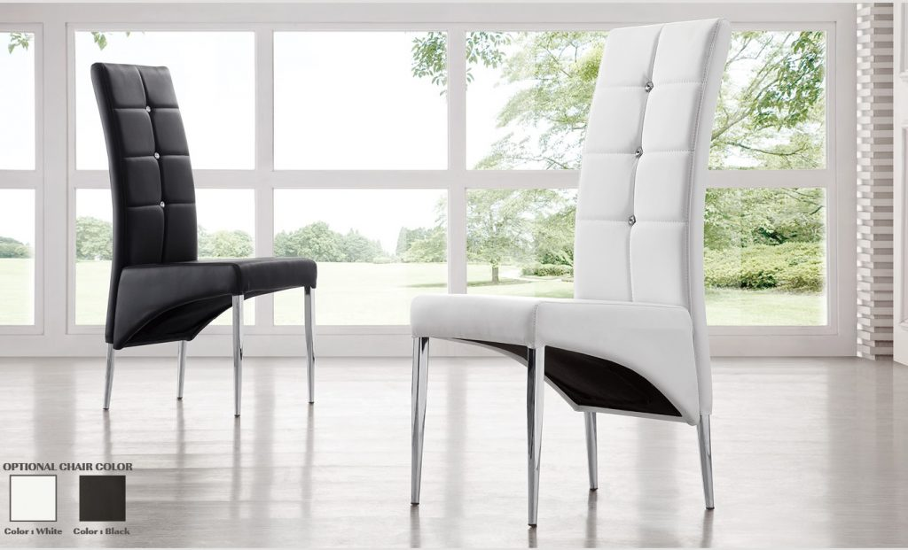 Vesta Studded Faux Leather Dining Room Chair In White 21163