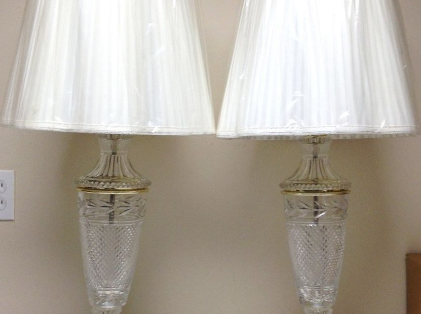 Vintage Pair Beautiful Lead Crystal Glass Table Lamps Waterford