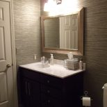Vinyl Grasscloth Wallpaper In My Guest Bathroom Interiors New