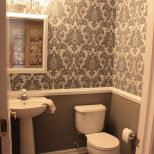 Wallpaper In A Bathroom Green Wall And Orange Grasscloth Dark Small