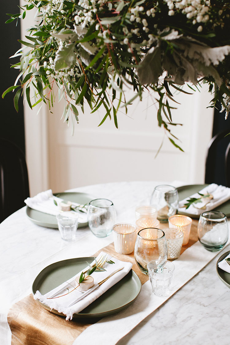 Warm Scandinavian Modern Holiday Tablescape Small Space