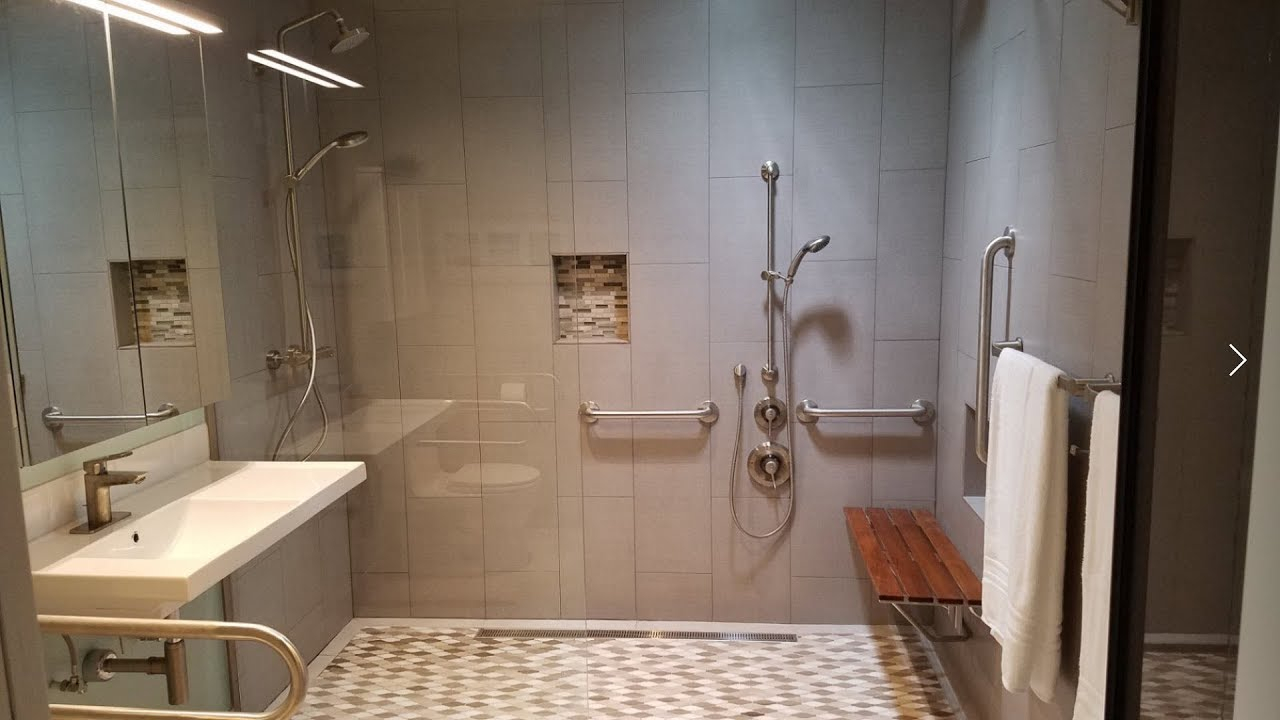 Wheelchair Accessible Bathroom Curbless Roll In Shower