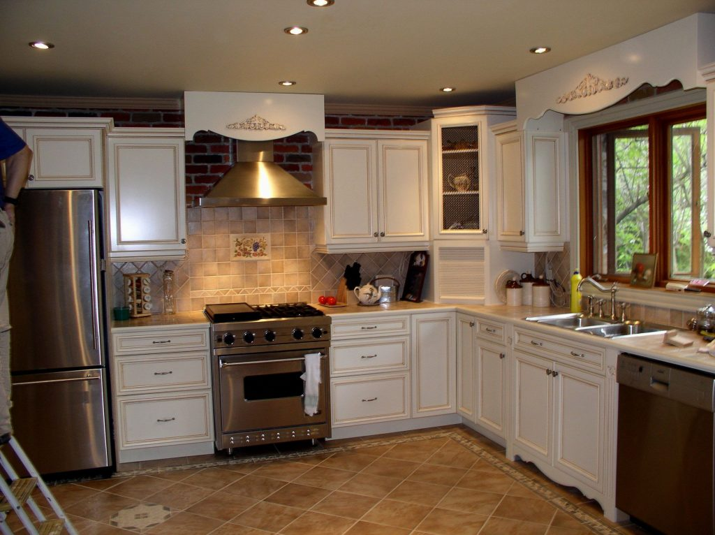White Kitchen Cabinets Brown Tile Floor Kitchen Remodel Refinish