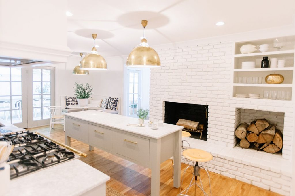 White Kitchen Open Shelving Kitchen Island Kitchen Fireplace