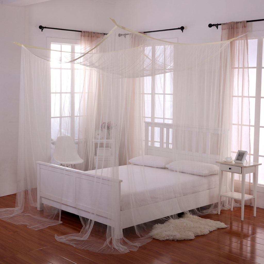 White Palace 4 Post Bed Sheer Mosquito Net Panel Canopy