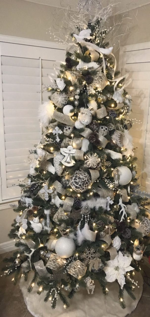 White Silver Gold Christmas Decor Rustic Glam Christmas Tree