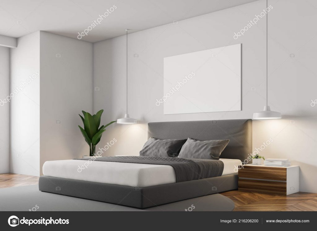 White Wall Minimalistic Bedroom Corner Wooden Floor Grey Carpet
