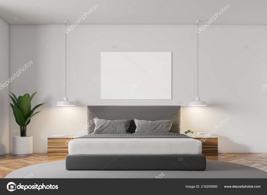 White Wall Minimalistic Bedroom Interior Wooden Floor Grey Carpet