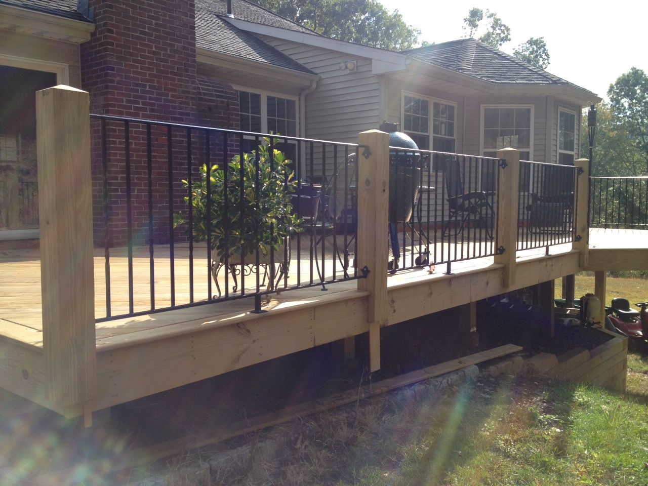 Wood Posts And Wrought Iron Hand Rails And Pickets Wrought Iron